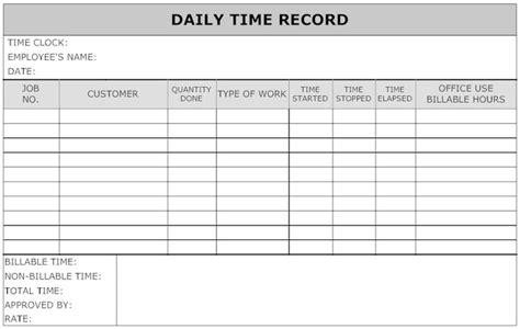 image daily time record timesheet template