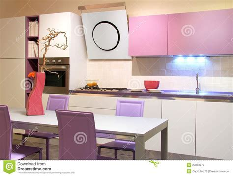 Modern Kitchen Pink And Cream Coloured Stock Image   Image