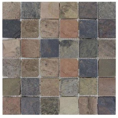tumbled slate tile ms international mixed color 12 in x 12 in x 10 mm tumbled slate mesh mounted mosaic tile