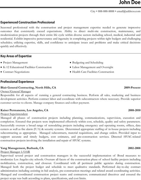Work Resume Sle by Construction Project Manager Resume Format For