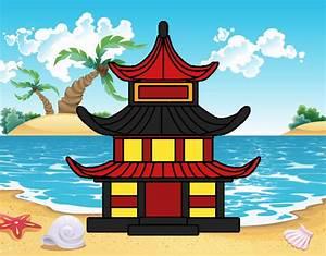 Maison Japonaise Dessin : dessin de maison traditionnelle japonaise colorie par membre non inscrit le 02 de septembre de ~ Melissatoandfro.com Idées de Décoration