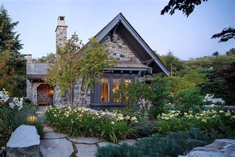 elegant city stone cottage  lush garden setting