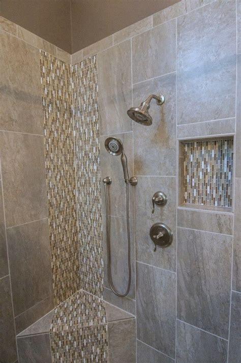 master bath suite tile shower waterfall mosaic niche