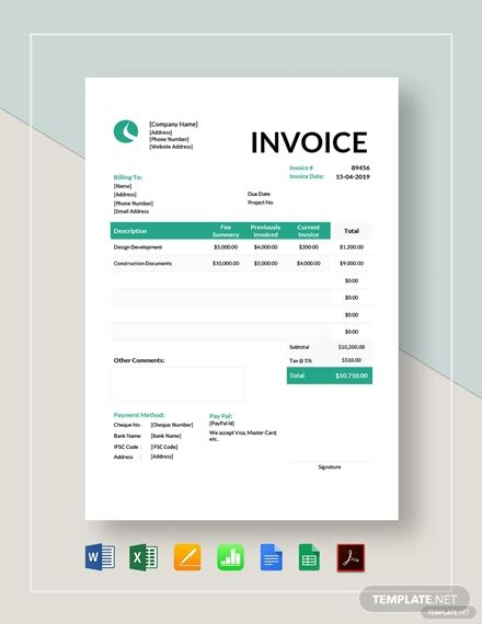 architect invoice template  word excel google
