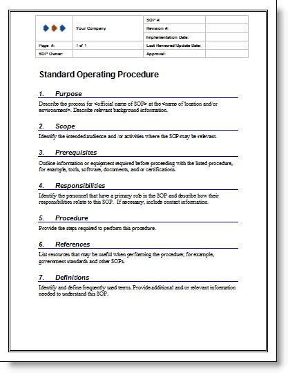 36 Page Standard Operating Procedure (sop) Template Ms