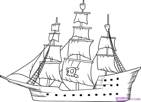How To Draw A Pirate Boat by Simple Pirate Ship Drawing How To Draw A Pirate Ship Step