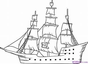 Simple Pirate Ship Drawing - Drawing Sketch Picture