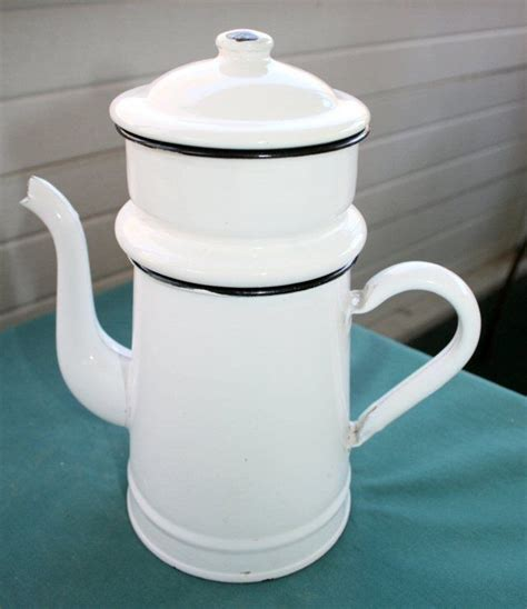 vintage french drip white enamel enamelware coffee pot