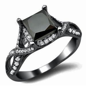 Black Princess Cut Diamond Engagement Ring - Unusual ...