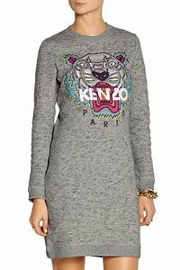 kenzo tiger embroidered cotton sweatshirt dress net a With robe kenzo tigre