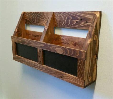 reclaimed pallet wood  pocket wall organizer  chalkboard mail holder file holder