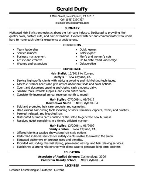 hair stylist resume exle recentresumes