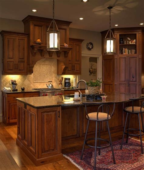 Rustic Cherry Inset cabinetry with stained and glazed