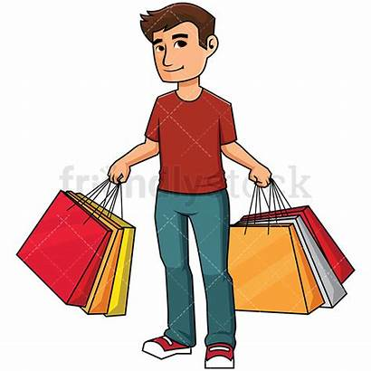 Shopping Clipart Cartoon Bag Bags Holding Vector