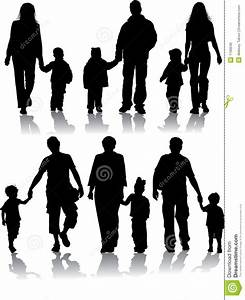 Vector Silhouettes Of Parents With Children Stock Vector ...
