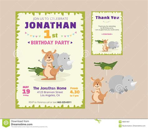 animal thank you card template animal theme birthday invitation and thank you