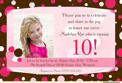 Nice FREE Template 10th Birthday Party Invitation Wording
