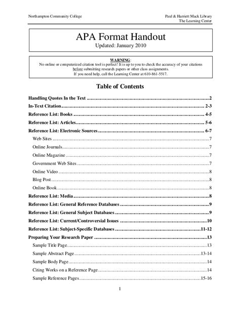 apa table of contents template apa format