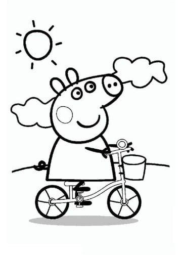 dibujos de verano  colorear faciles dibujo de peppa