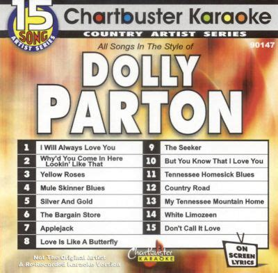 chartbuster karaoke dolly parton karaoke songs