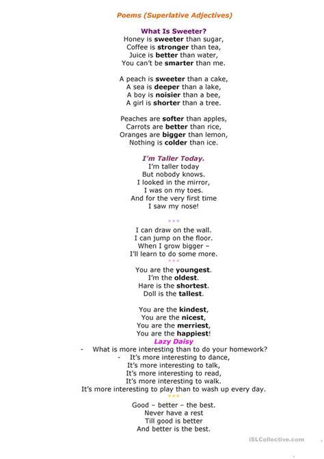 poems superlative adjectives worksheet  esl