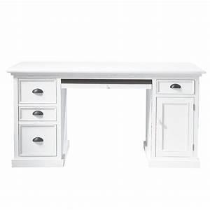 La Maison Du Blanc : bureau en pin blanc l 150 cm newport maisons du monde ~ Zukunftsfamilie.com Idées de Décoration
