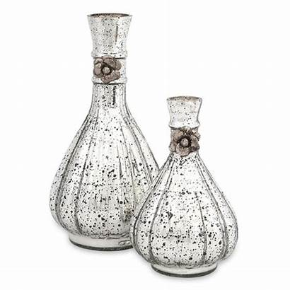Glass Bottles Mercury Imax Speckled Antique Flowers