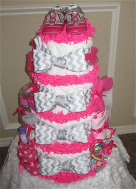 traditional girls gray chevron hot pink diaper cake