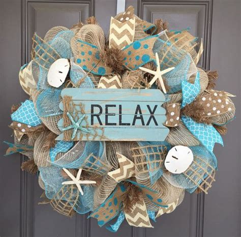 Relax Beach Burlapdeco Mesh Wreath With By Beautifulmesh