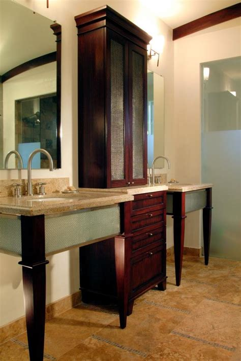 neutral bathroom  large storage cabinet hgtv