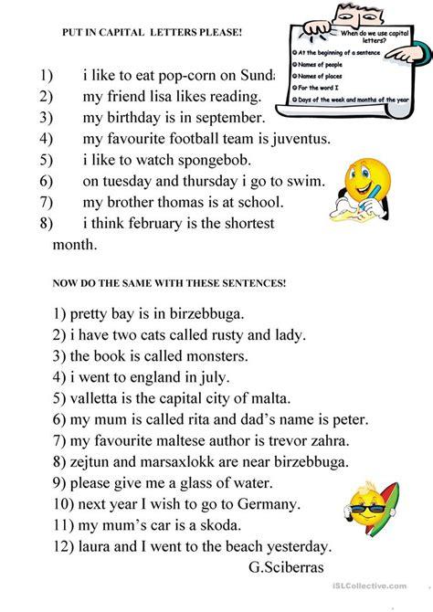 capital letters worksheet free esl printable worksheets