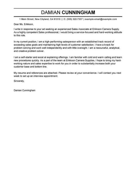 sales cover letter examples livecareer