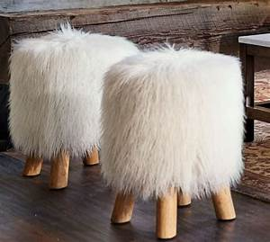 Mongolian Faux Fur Stool Pottery Barn