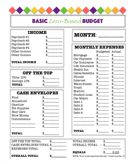 printable budget worksheet 18 free word excel pdf