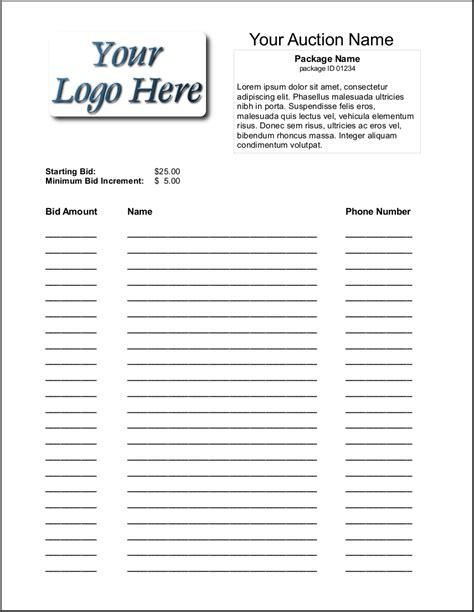 6 Silent Auction Bid Sheet Templates  Formats, Examples