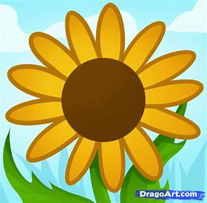 How to Draw a Sunflower for Kids, Step by Step, Flowers ...