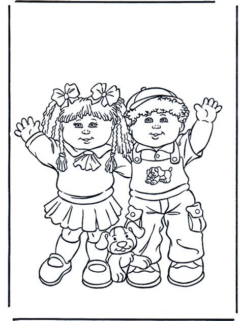 boy  girl children coloring page