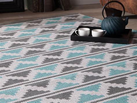 cuisine bleu tapis 100 coton tissé à chevrons turquoise et gris