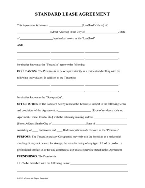 Free Standard Residential Lease Agreement Template - PDF