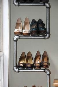 Schuhregal Selber Machen : industriell stil schuhregal selber bauen damen rohren interior pinterest schuhregal selber ~ Watch28wear.com Haus und Dekorationen