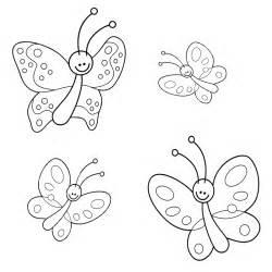 Ausmalbild, Tiere, Vier, Schmetterlinge, Kostenlos, Ausdrucken