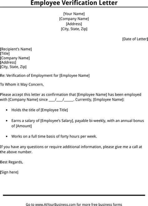 employment verification template employment verification letter template templates forms letter templates