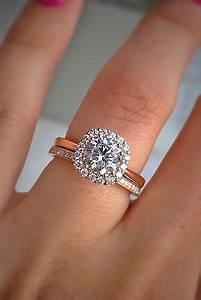rose gold halo engagement rings on hand wwwimgkidcom With wedding ring photo ideas