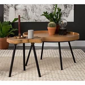 Table Basse Ronde Gigogne : table basse ronde en ch ne plateau amovible oak tray zuiver ~ Teatrodelosmanantiales.com Idées de Décoration