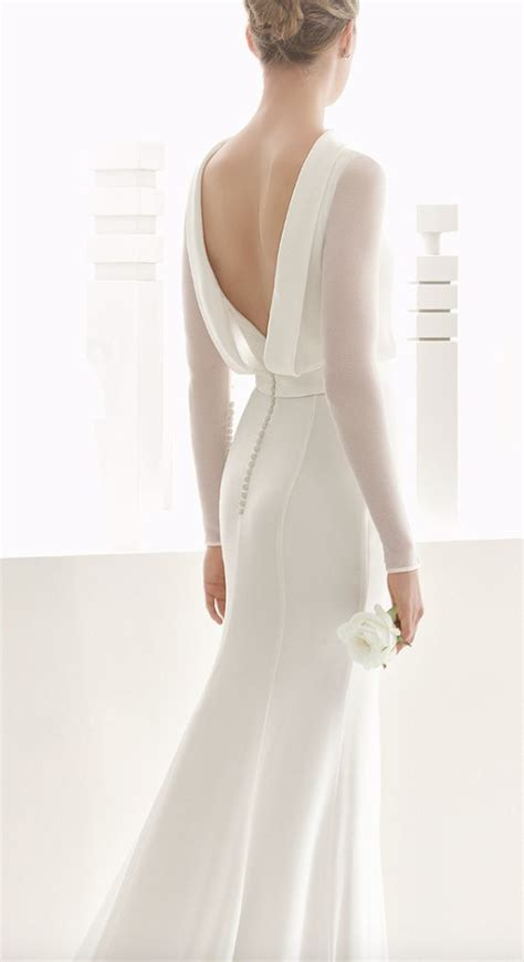 long sleeve draped open  wedding dress  weddbook