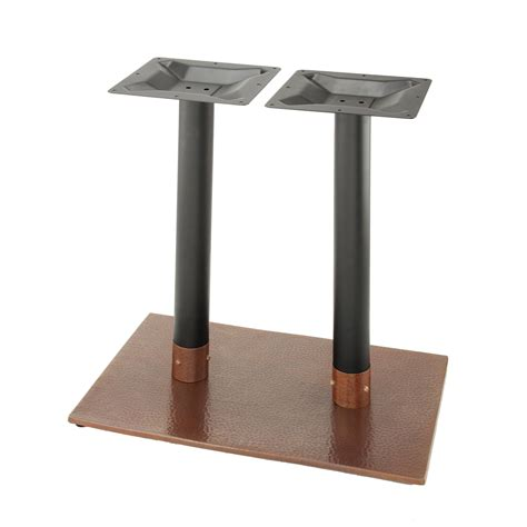hammered metal table l base penny 1828 hammered copper table base tablebases com