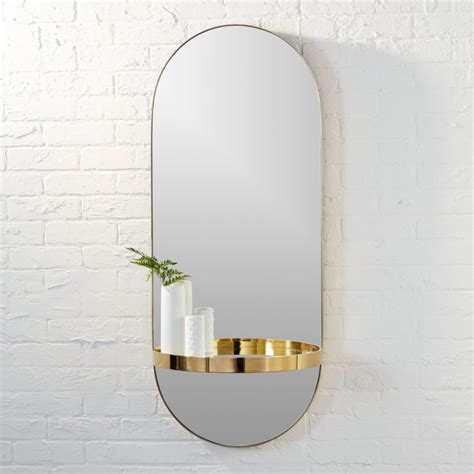 Bedroom Mirrors With Shelf by Caplet Oval Mirror With Shelf Reviews Cb2
