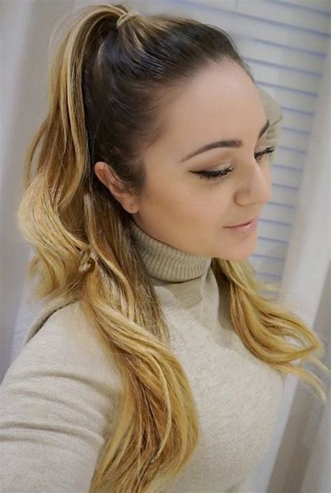 easy  chic  ponytails  straight wavy