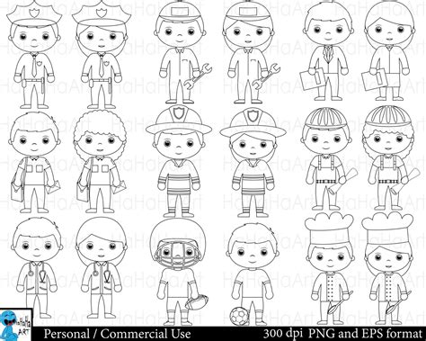 13180 career clipart black and white outline professions set clipart digital clip graphics