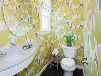 Bathroom Floral Bathrooms Yellow Wallpapered Prints Remodel